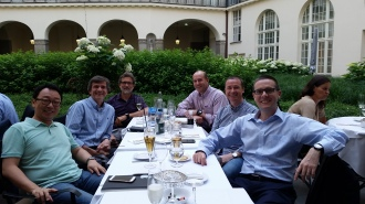 with (left to right) Prof's Taeyong Lee, Alberto Leardini, Dieter Rosenbaum, Dr William LeDoux, and Prof Joshua Burns, iFAB steering group, Berlin.