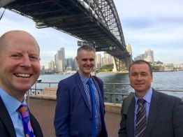 with Prof David Armstrong (USA) and Dr Matt Carroll (NZ) under Sydney harbour bridge