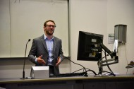 Dr Dan Parker, once a PhD student in our group, now Post Doc Research Fellow, here Chairing our research showcase day.