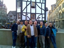 Manchester meeting of bone pin research team - Dr's Alex Stacoff, Anmin Liu, Tony Arndt, Paul Lundgren, Arne Lundberg, me, Richard Jones, and Peter Wolf.