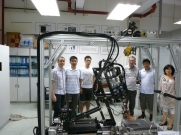 Shanghai - with Prof Dave Howard and Dr Anmin Liu of Salford, and Shanghai colleagues, alongside our cadaver simulator.