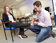 KTP Associate Susie Kirkham and PhD graduate Dr Ciaran Wright - part of foot skin research activities with industry.
